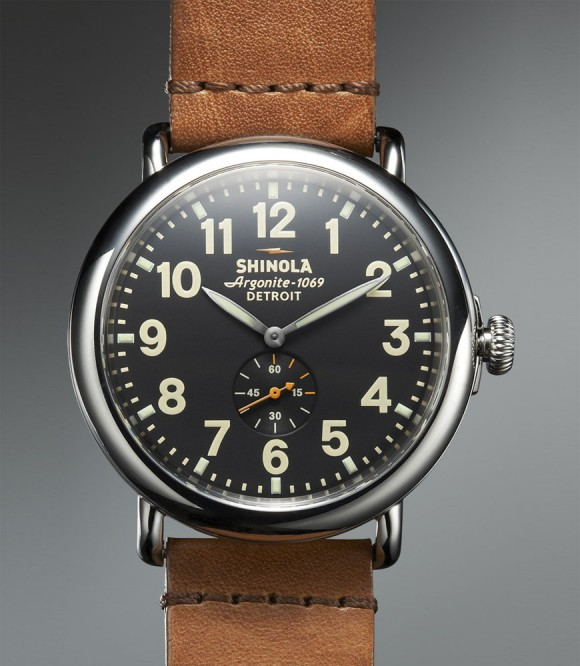 47mm Runwell Shinola black, silver & brown - domed sapphire