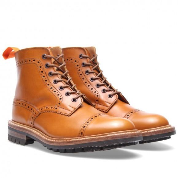 Acorn Antique perforated cap toe boot, lug sole Tricker's