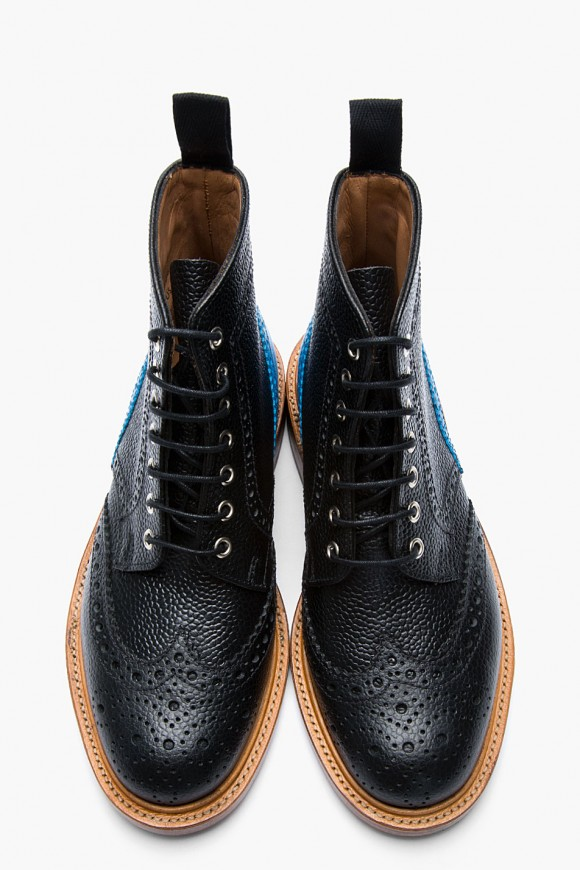 Black Pebble Brogue Turquoise panel boots