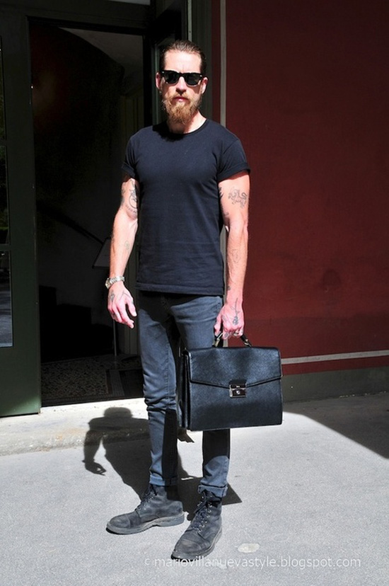 Black Shirt & Jeans scuffed boots simple style works