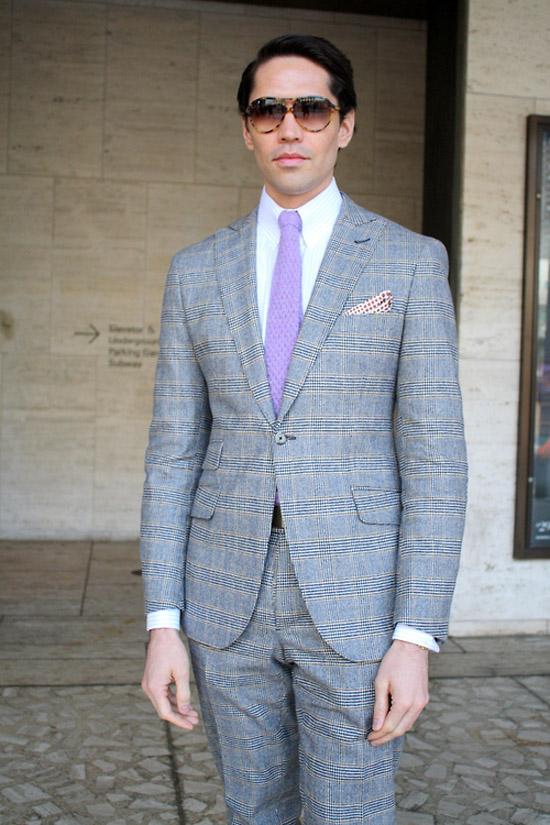 Blue Blanket Plaid Suit & Knit Tie