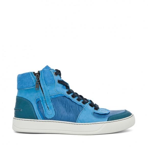 Blue Goatskin Lambskin designer zip sneakers LANVIN