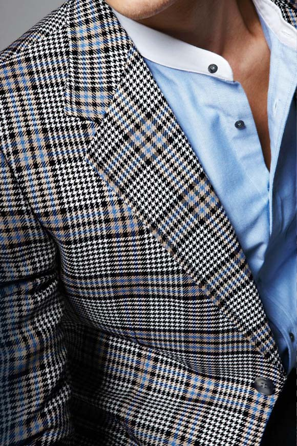Blue Prince of Wales plaid jacket Collarless Shirt