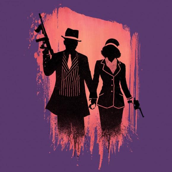 Bonnie & Clyde purple silhouette gangster love