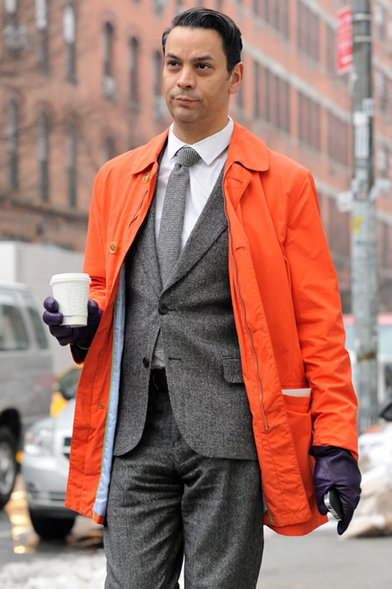 Bright Orange jacket, wool grey suit, white shirt & coffee