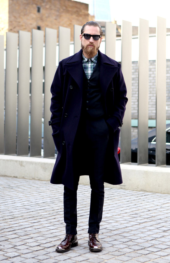 Buttoned-Up plaid navy peacoat Justin O'Shea