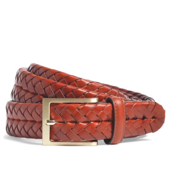 Gold Tone Calfskin Woven Belt, Brooks Brothers