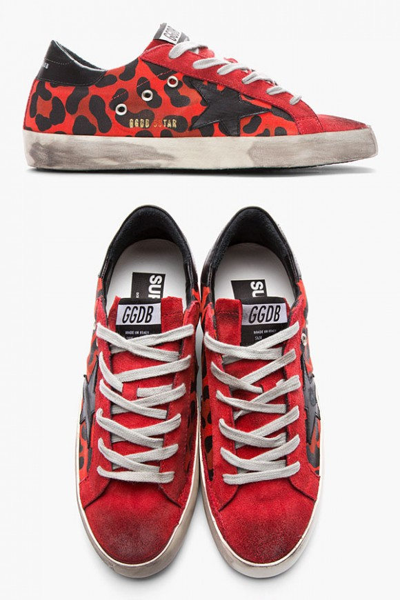 Golden Goose Red Leopard Superstar sneakers