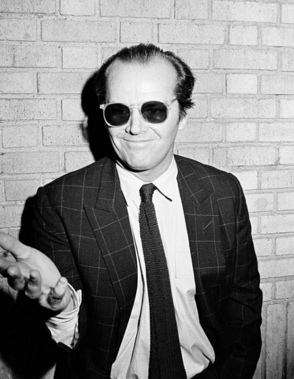 Jack Nicholson Peak Lapel Windowpane Sport Coat + Knit Black Tie in 1981