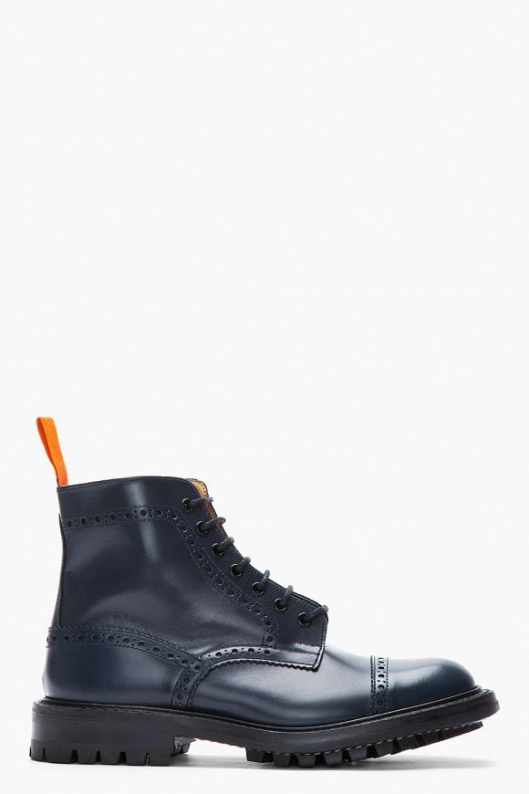 Junya Watanabe x Tricker's navy cap toe brogue lug sole boots