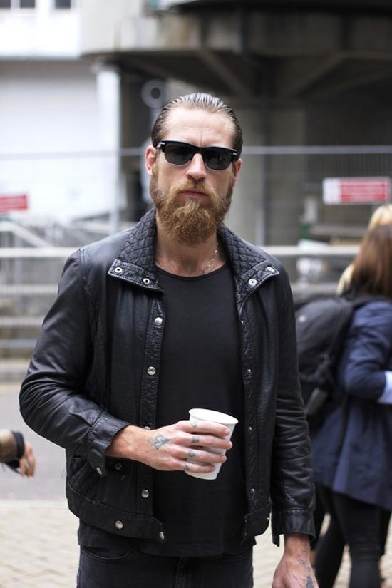 Justin O'Shea Biker Jacket Black T-Shirt, Black Jeans
