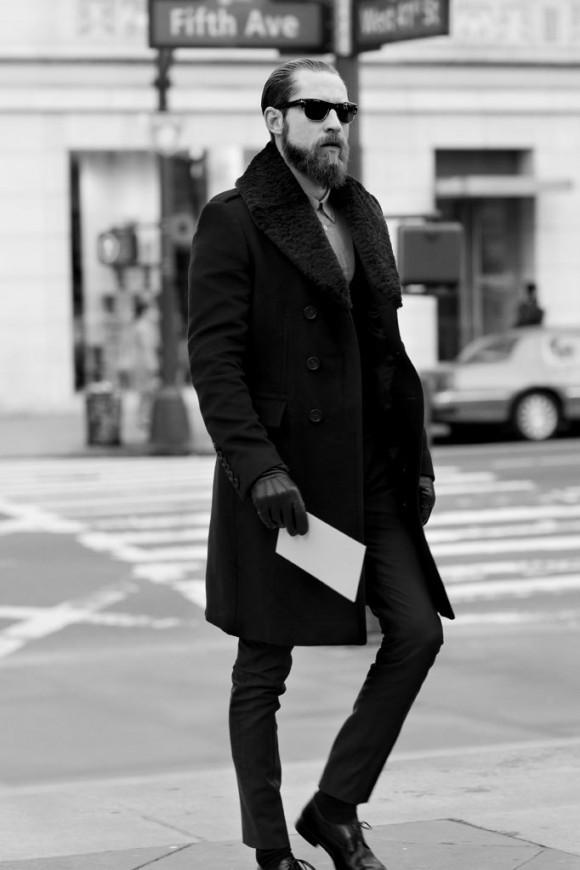 Justin O'Shea fur lapel coat & American Psycho gloves