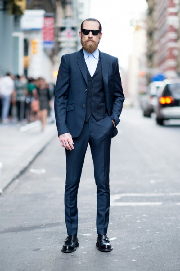 Justin O'Shea Three Piece Suit no tie & double monks