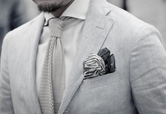 Knit tie & Zebra pocket square