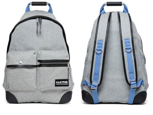 Kris Van Assche Front Pouch Grey Backpack with Blue Trim