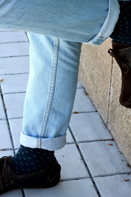 Light Blue jeans cuffed & polka dot socks