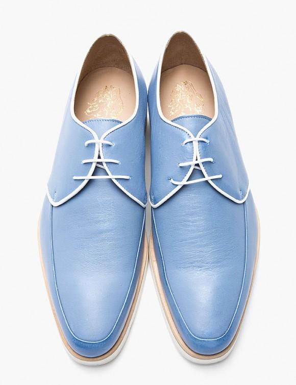 Light blue metallic King tubby moc toe men's shoes