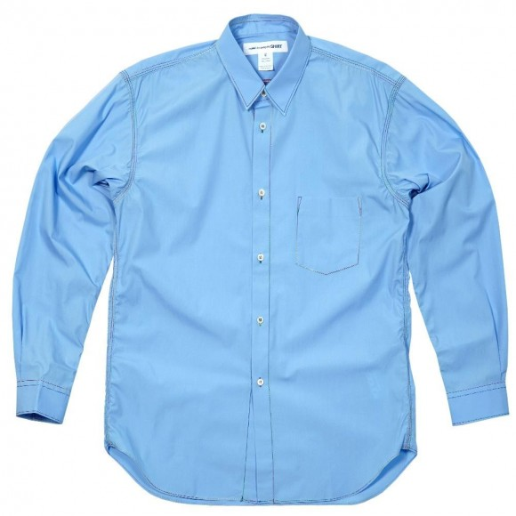 Rainbow Stitching on Light Blue button down shirt | SOLETOPIA