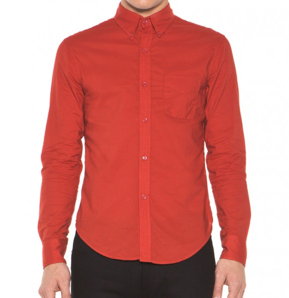 Long Sleeve Seduction button down in red | SOLETOPIA