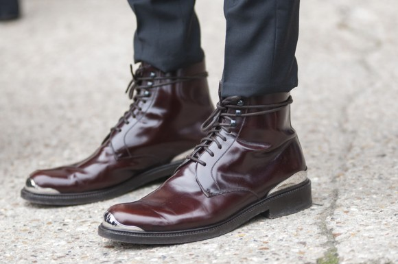 Louis Vuitton patent leather metal boot, Justin O'Shea