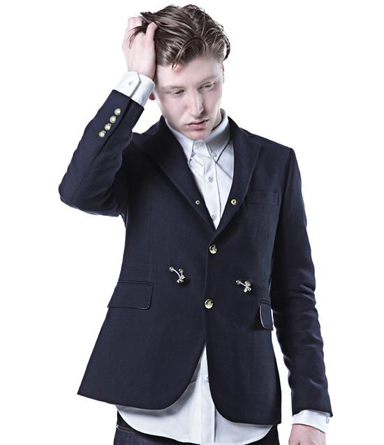 Moncler adjustable drawstring waist navy blazer ss13 lookbook