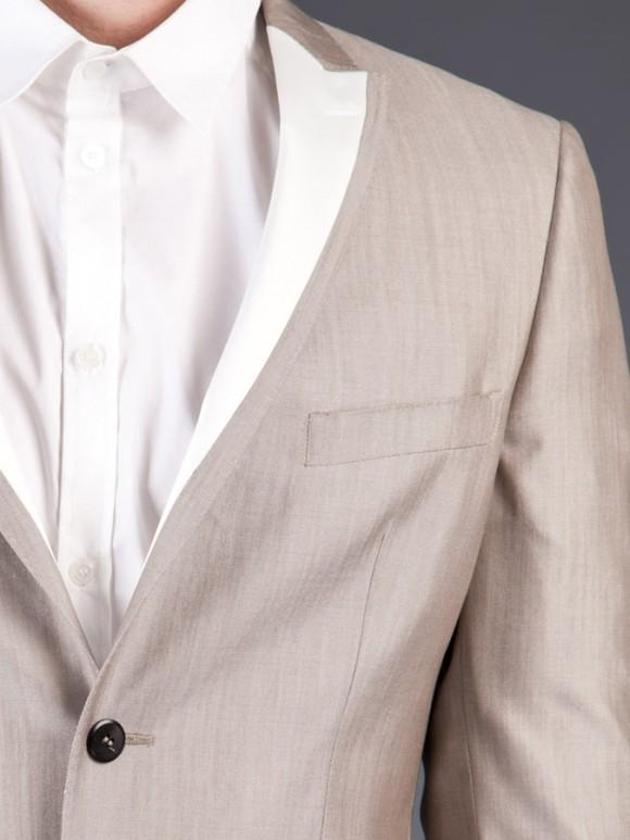 Multi-tone white peak lapel satin suit