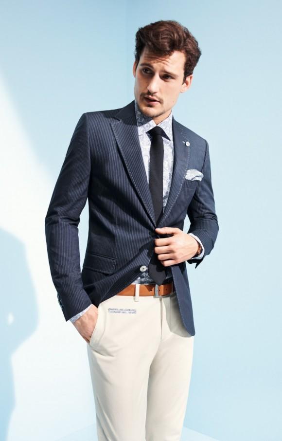 Navy pinstripe jacket white trousers Digel ss13 lookbook