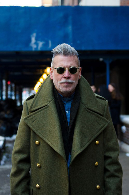 Nick Wooster Massive Collar green coat gold buttons