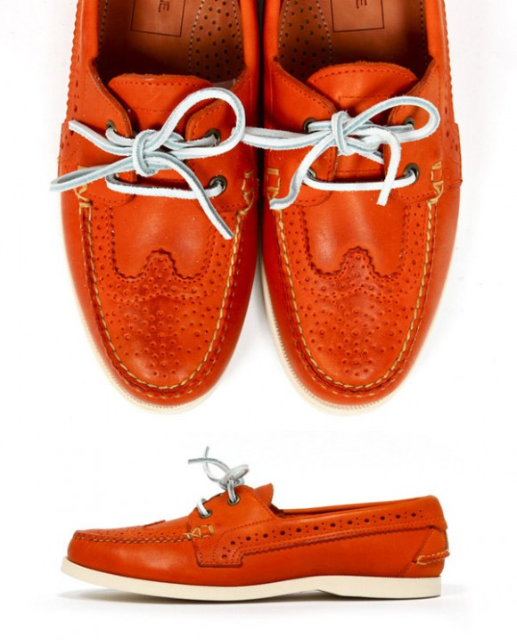 Orange Perforated Wingtip Boat Shoe, 'Deck Shoe' Thom Browne