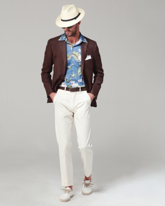 Ovadia & Sons Chocolate Herringbone Tweed summer jacket