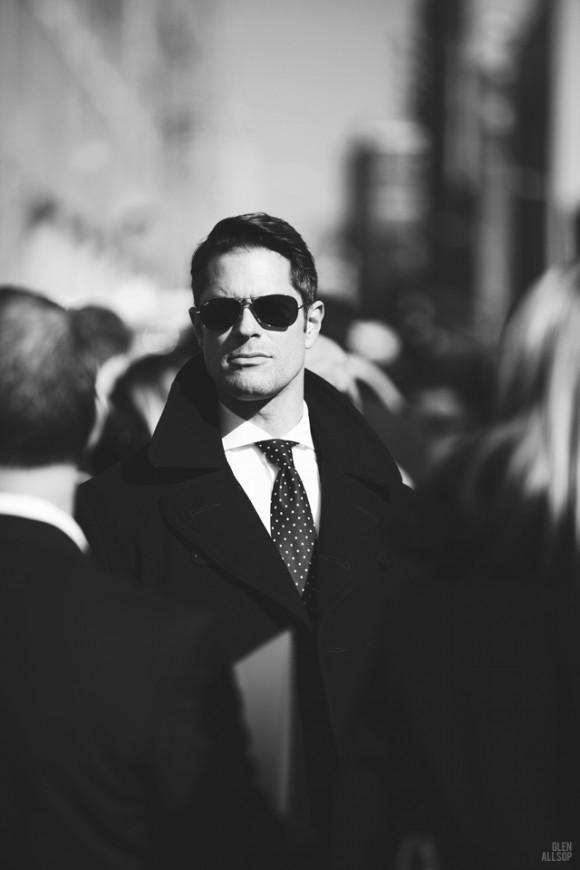 Pea Coat Undone, Wide Collar & Dotted Tie