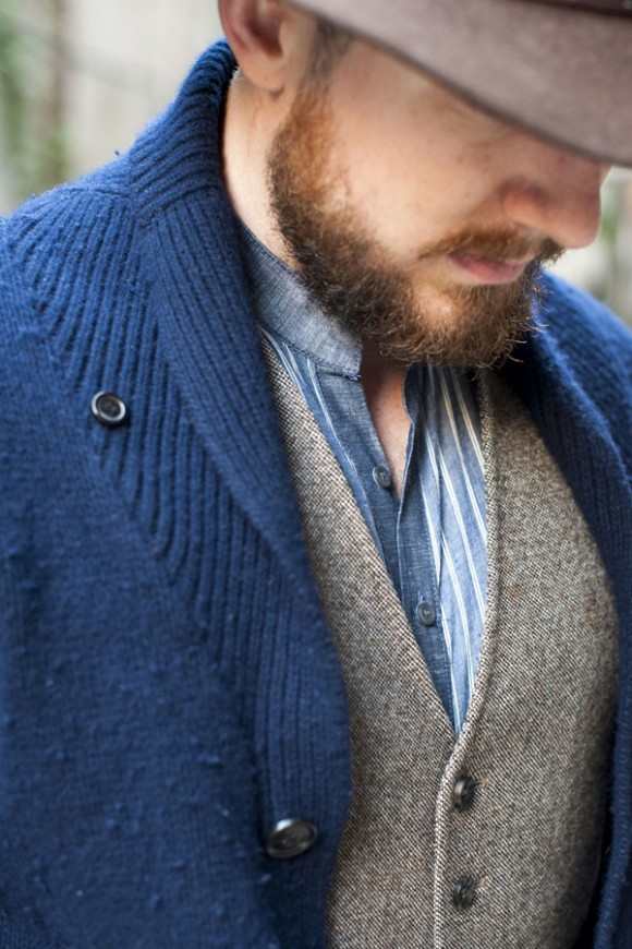 Pinstripe Chambray Band Collar