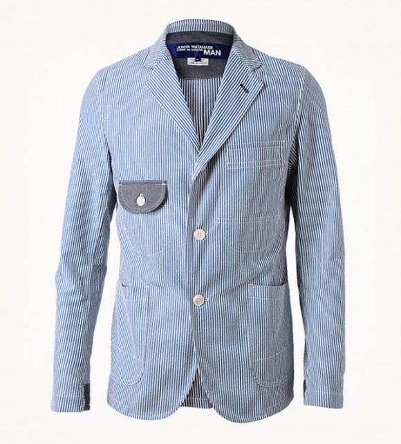 seersucker suit jacket felt pocket Junya Watanabe