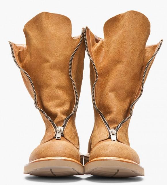 Semi Futuristic Rick Owens brushed suede zip boots
