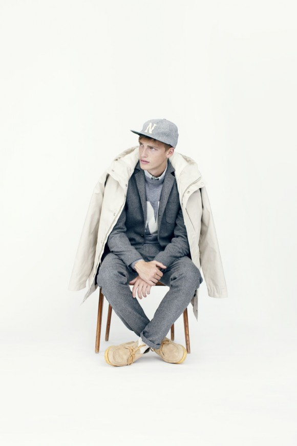 Sitting in Grey Wool beige moc suede yellow laces + jacket over shoulders