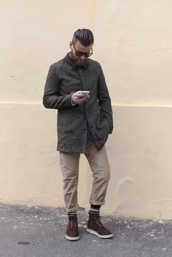 Stacked Wool Socks suede cap toe boots Street Style Florence