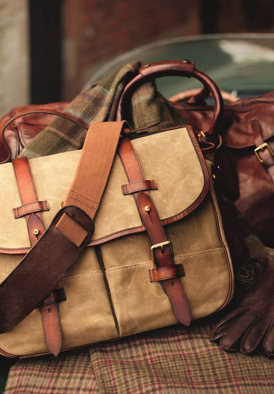 Tan Leather Bag canvas strap & burnished panel men style