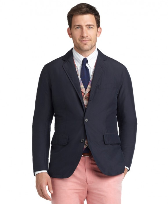 Tartan Vest Knit Tie unstructured navy blazer