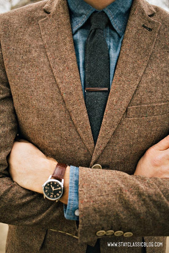 Texture City brown suit jacket & blue chambray shirt