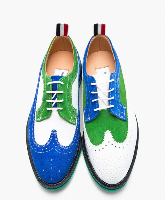 Thom Browne Kelly green Electric blue & white nubuck brogues