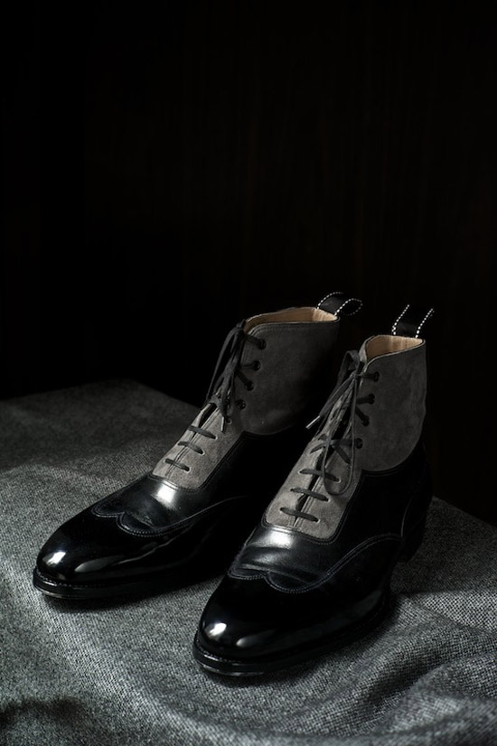 Two Tone Grey Black Oxford Boots