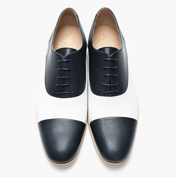 Two Tone navy/white cap toe oxford shoes men