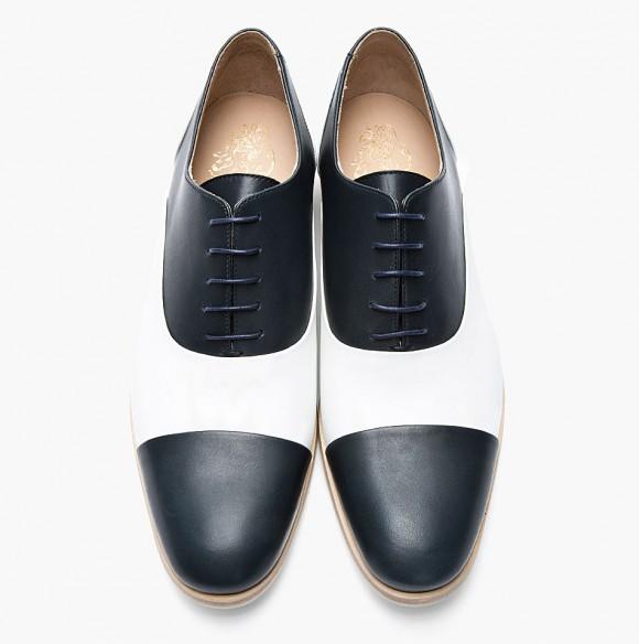 Two Tone navy/white cap toe oxford shoes men