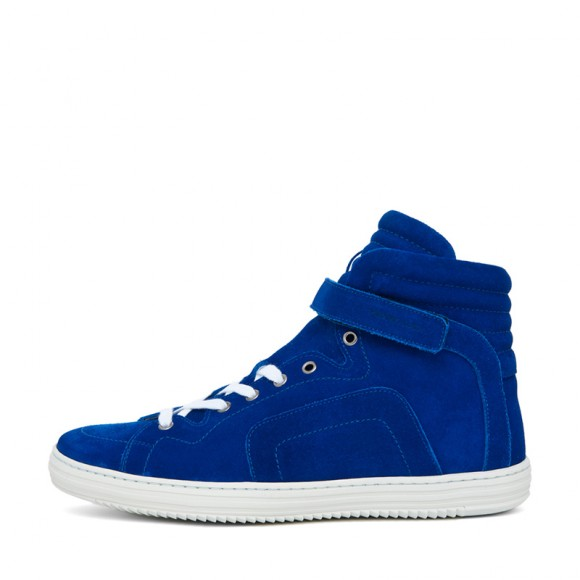 Ankle strap electric blue suede luxury sneakers