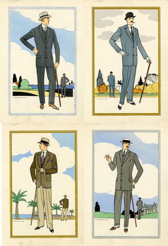 Antique 1920s men's fashion illustrations main