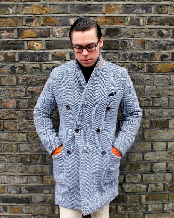 Beautiful herringbone coat, double breasted