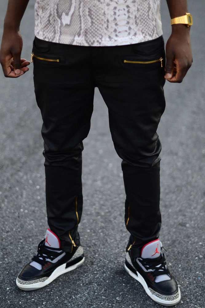 Black leather pants Jordan 3
