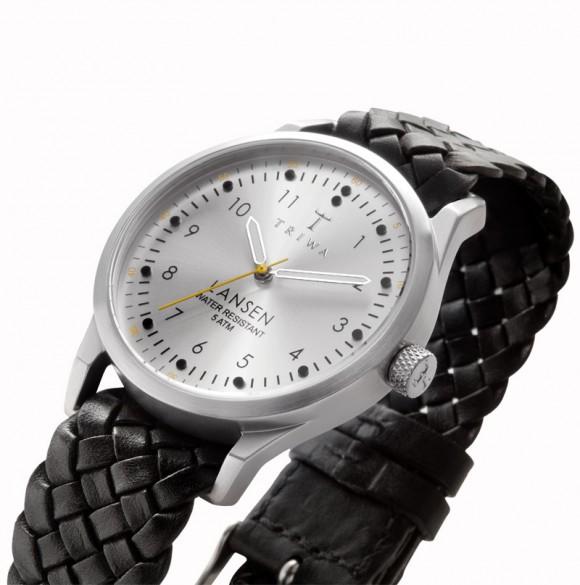 Black woven leather watch strap, Triwa