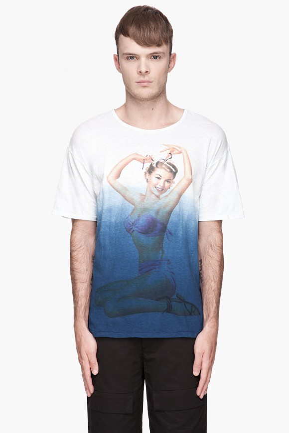 blue ombre pinup girl shirt SASQUATCHfabrix