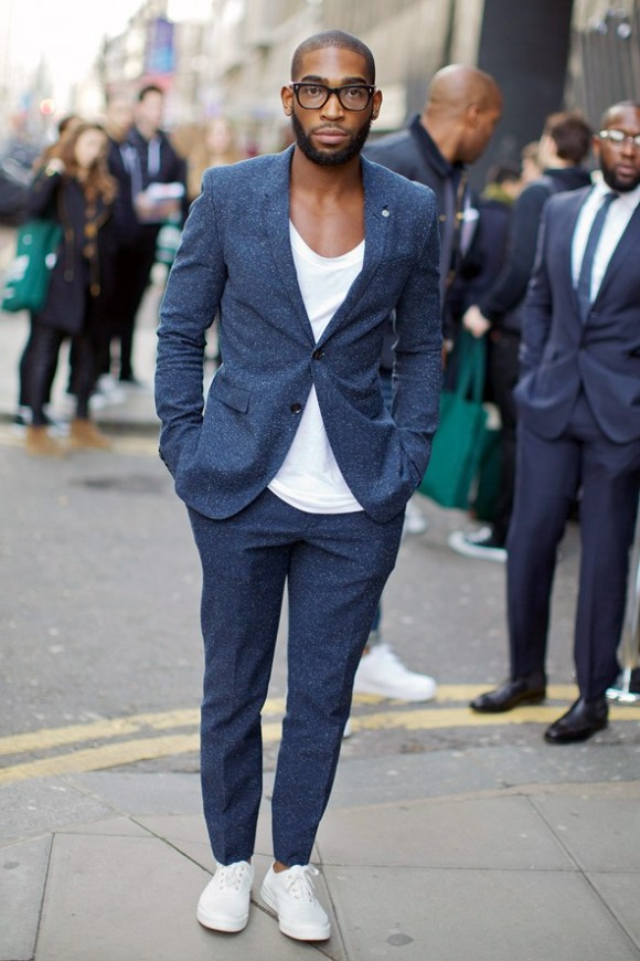 navy suit with white sneakers